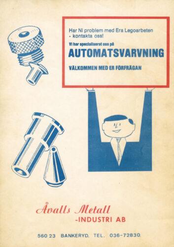Gammal reklamannons för Åvalls Metallindustri AB
